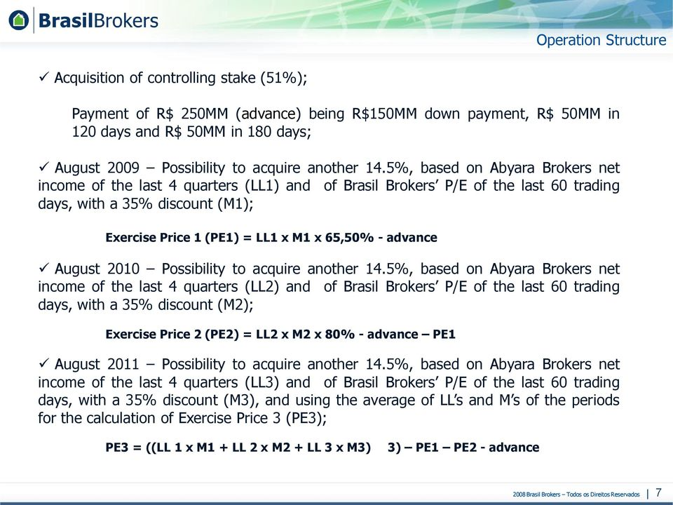 5%, based on Abyara Brokers net income of the last 4 quarters (LL1) and of Brasil Brokers P/E of the last 60 trading days, with a 35% discount (M1); Exercise Price 1 (PE1) = LL1 x M1 x 65,50% -