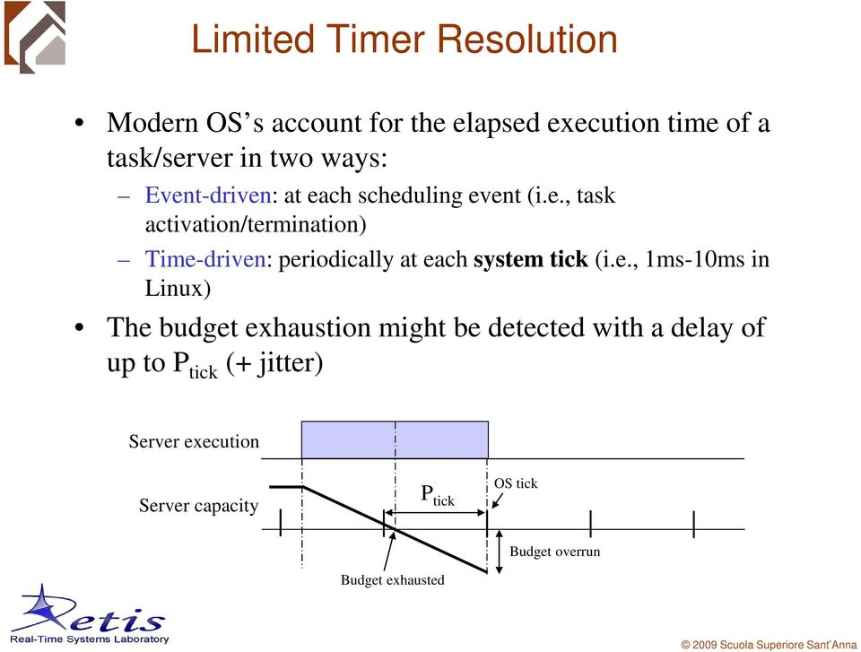 e., 1ms-10ms in Linux) The budget exhaustion might be detected with a delay of up to P tick (+ jitter)