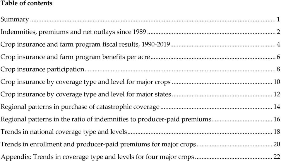 .. 10 Crop insurance by coverage type and level for major states... 12 Regional patterns in purchase of catastrophic coverage.