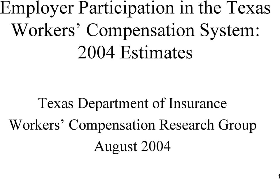 Estimates Texas Department of Insurance