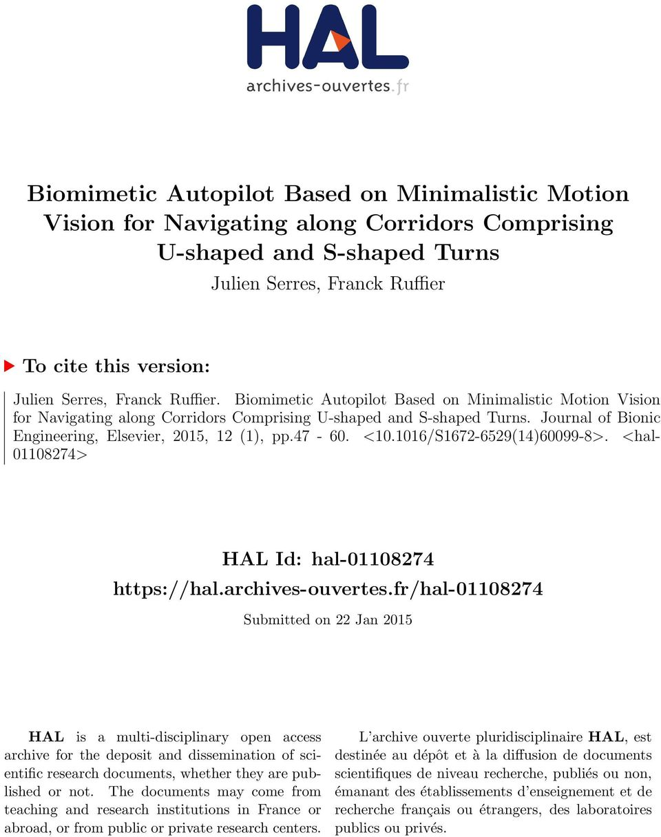 Journal of Bionic Engineering, Elsevier, 2015, 12 (1), pp.47-60. <10.1016/S1672-6529(14)60099-8>. <hal- 01108274> HAL Id: hal-01108274 https://hal.archives-ouvertes.