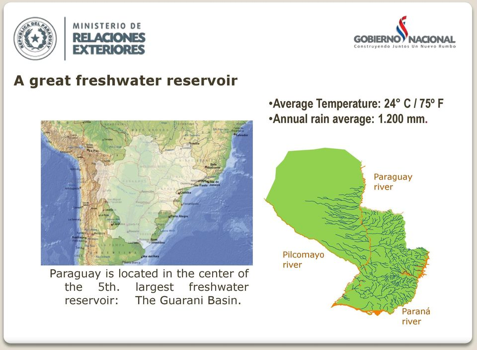 Paraguay river Paraguay is located in the center of the