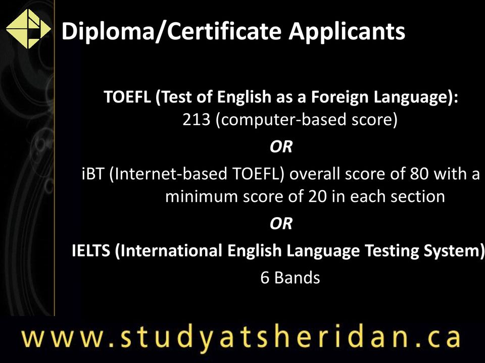 (Internet-based TOEFL) overall score of 80 with a minimum score