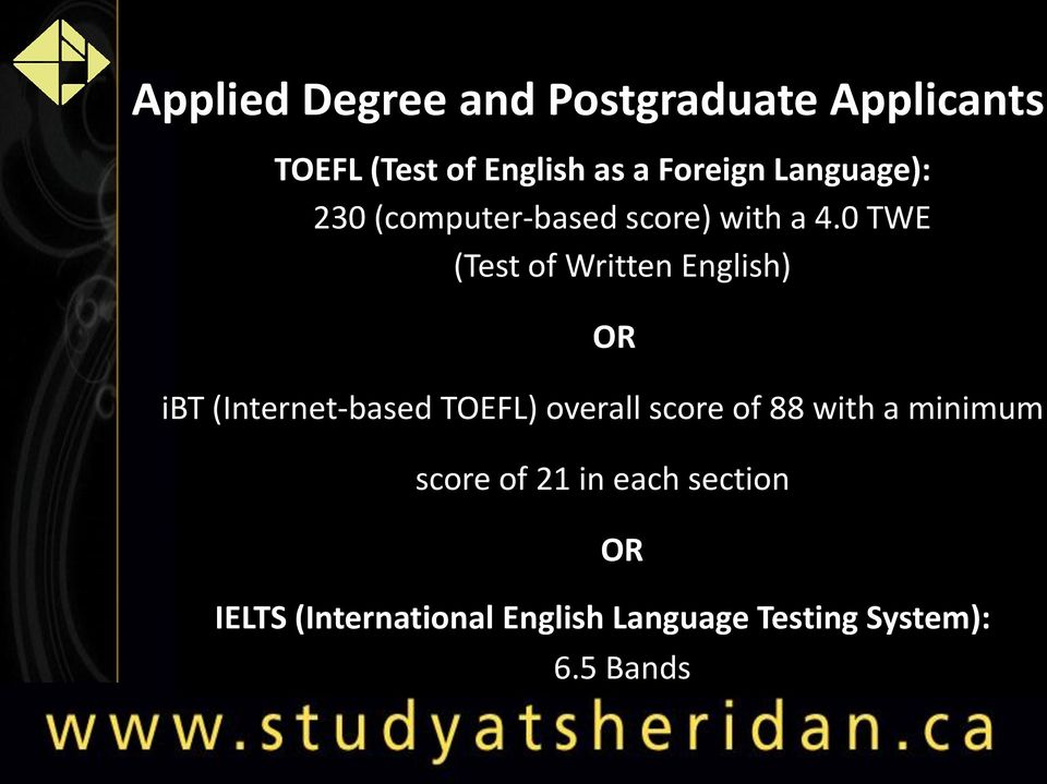 0 TWE (Test of Written English) OR ibt (Internet-based TOEFL) overall score of