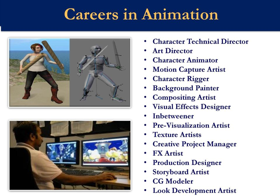 Visual Effects Designer Inbetweener Pre-Visualization Artist Texture Artists Creative