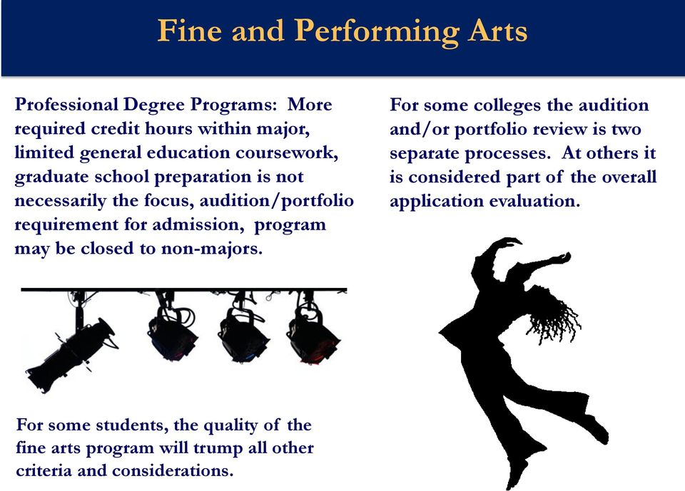 closed to non-majors. For some colleges the audition and/or portfolio review is two separate processes.