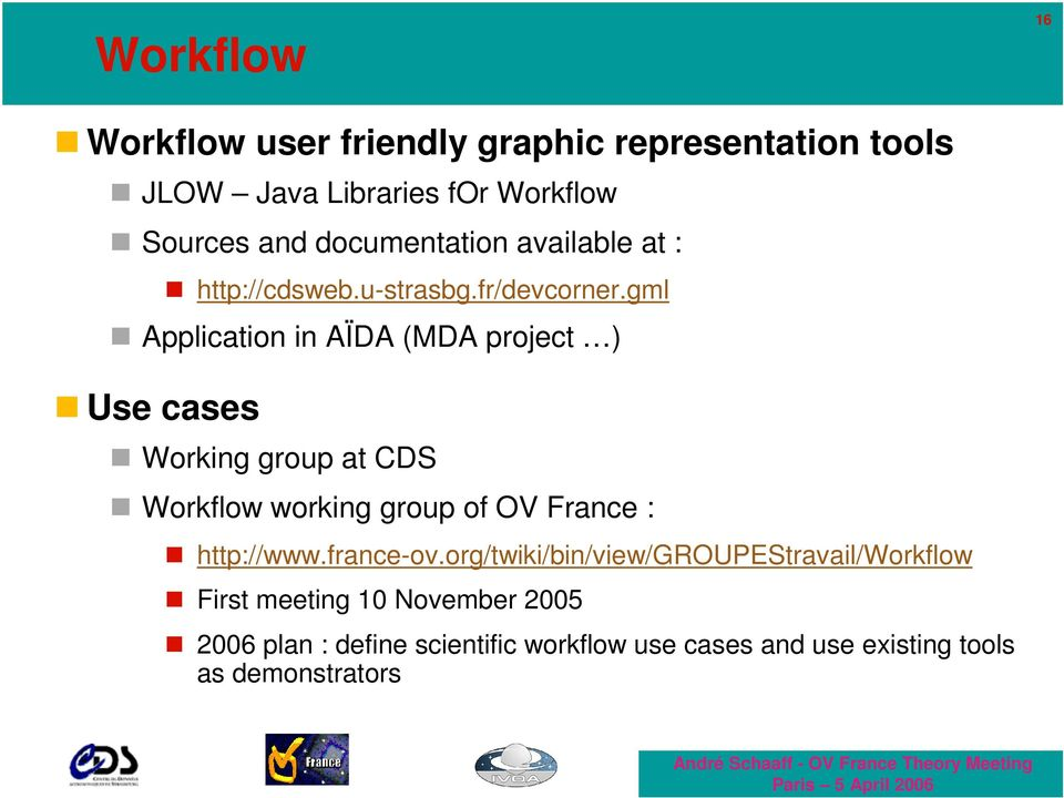 gml Application in AÏDA (MDA project ) Use cases Working group at CDS Workflow working group of OV France :