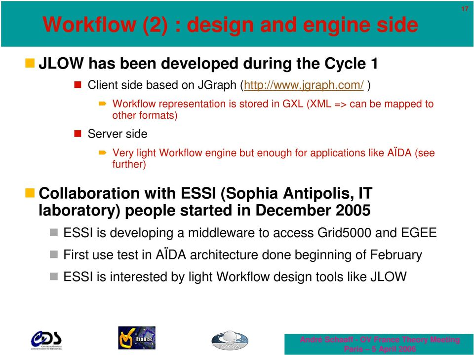 applications like AÏDA (see further) Collaboration with ESSI (Sophia Antipolis, IT laboratory) people started in December 2005 ESSI is developing