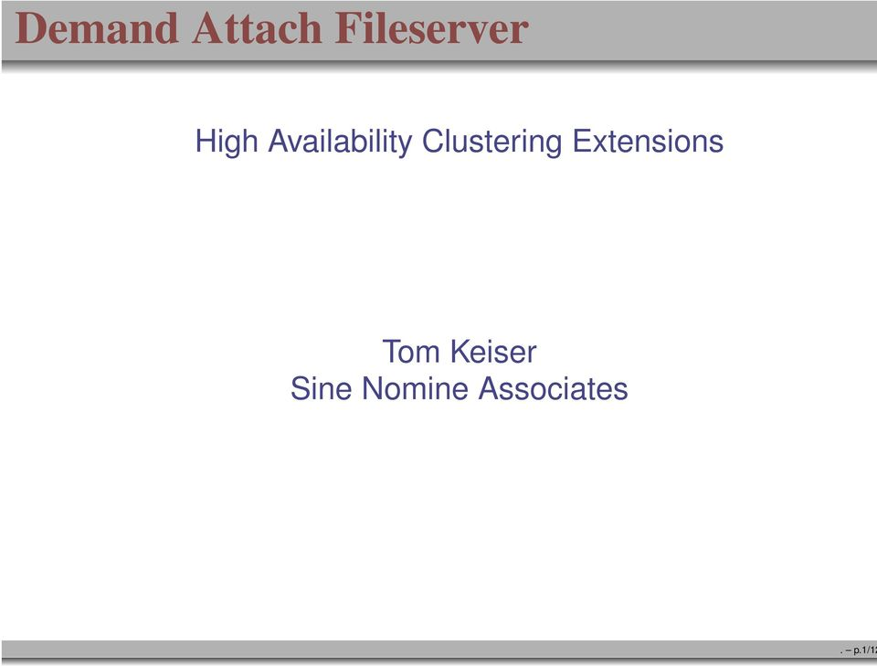 Availability Clustering