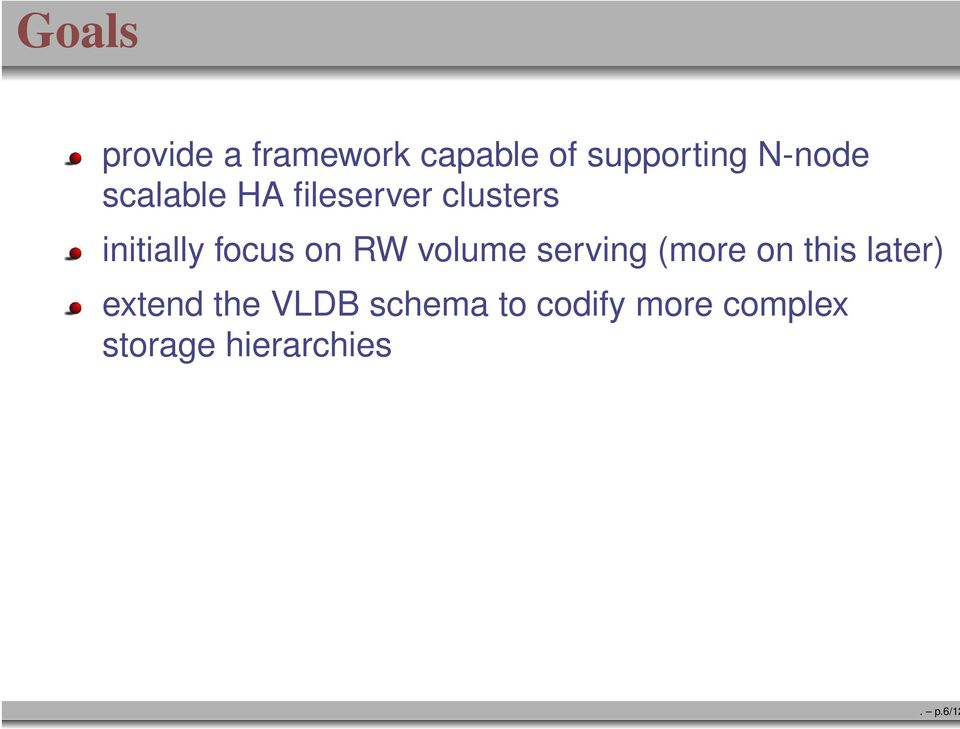initially focus on RW volume serving (more on this