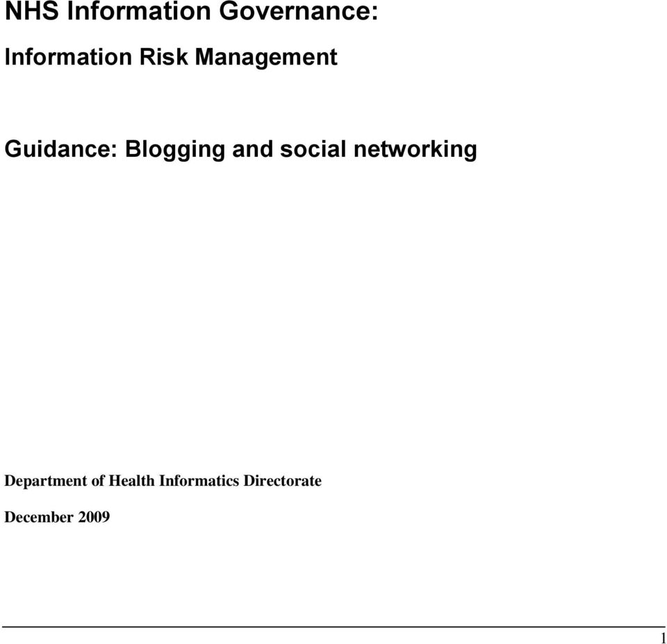 social networking Department of Health