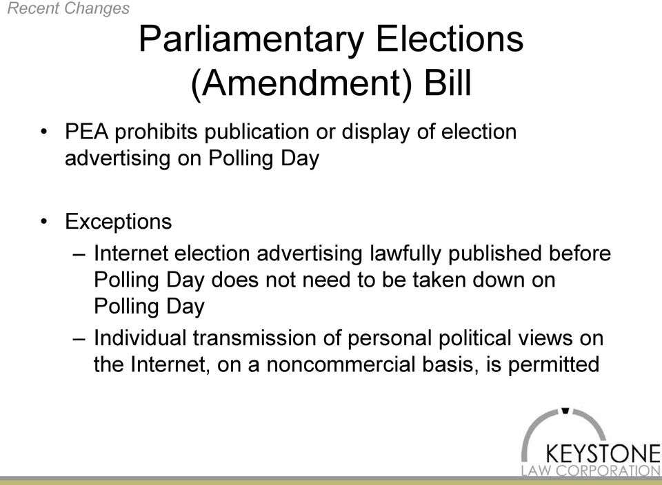 lawfully published before Polling Day does not need to be taken down on Polling Day