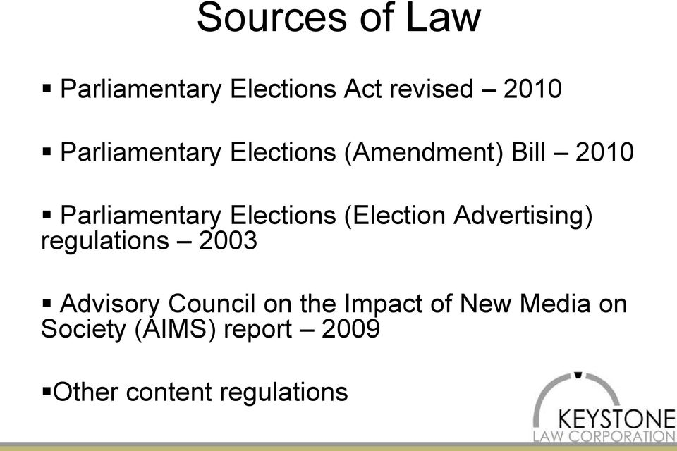 Elections (Election Advertising) regulations 2003 Advisory Council