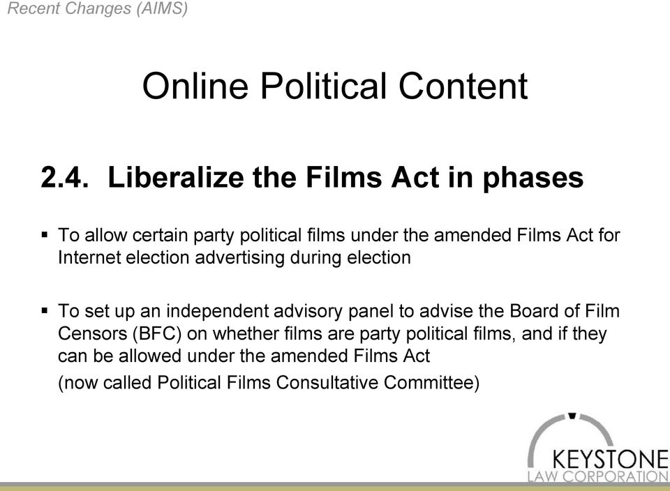 Internet election advertising during election To set up an independent advisory panel to advise the Board of
