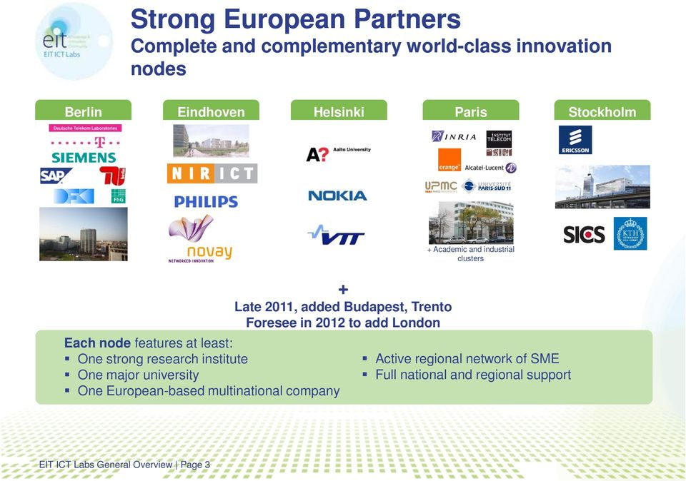 One major university One European-based multinational company + Late 2011, added Budapest, Trento Foresee in