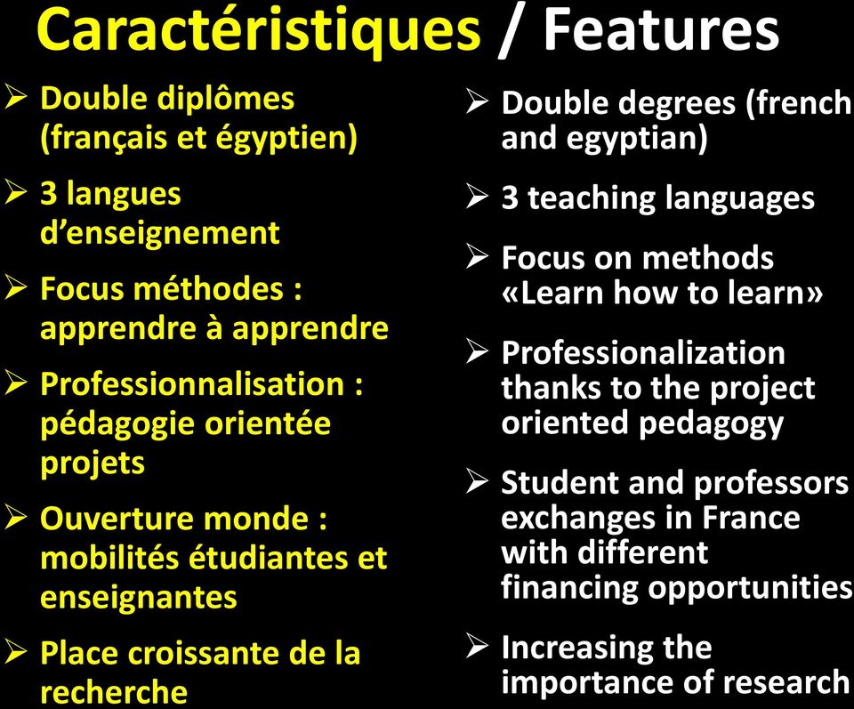 recherche Double degrees (french and egyptian) 3 teaching languages Focus on methods «Learn how to learn» Professionalization thanks to