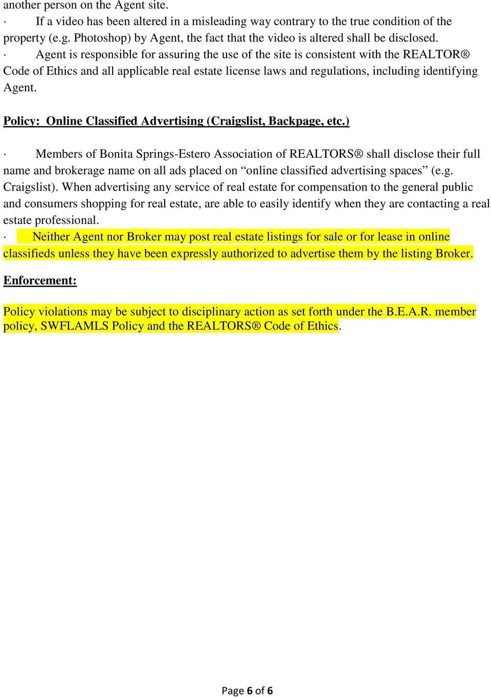 Policy: Online Classified Advertising (Craigslist, Backpage, etc.