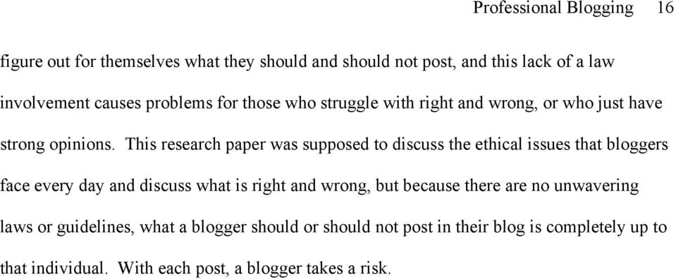 This research paper was supposed to discuss the ethical issues that bloggers face every day and discuss what is right and wrong, but