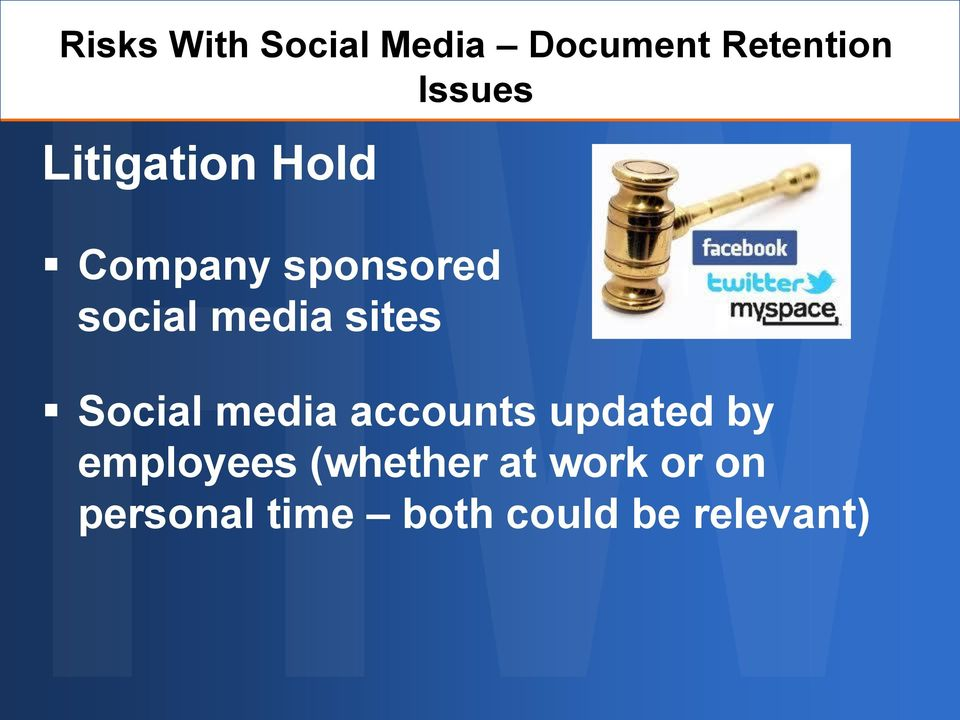 sites Social media accounts updated by employees