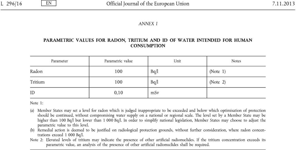 Note 1: (a) Member States may set a level for radon which is judged inappropriate to be exceeded and below which optimisation of protection should be continued, without compromising water supply on a