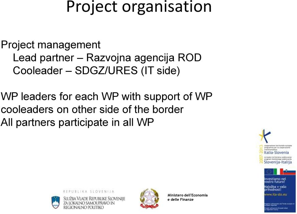 leaders for each WP with support of WP cooleaders on