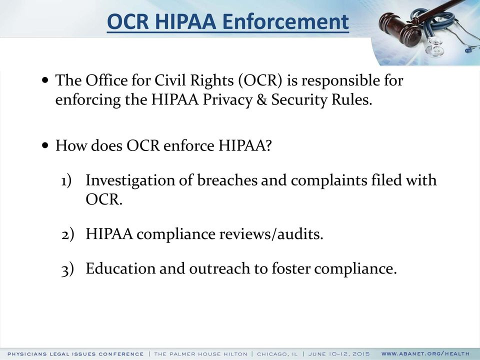 How does OCR enforce HIPAA?