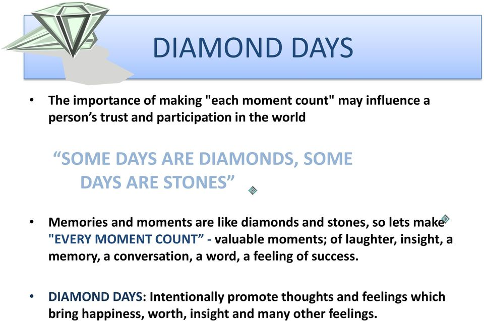 """EVERY MOMENT COUNT - valuable moments; of laughter, insight, a memory, a conversation, a word, a feeling of success."