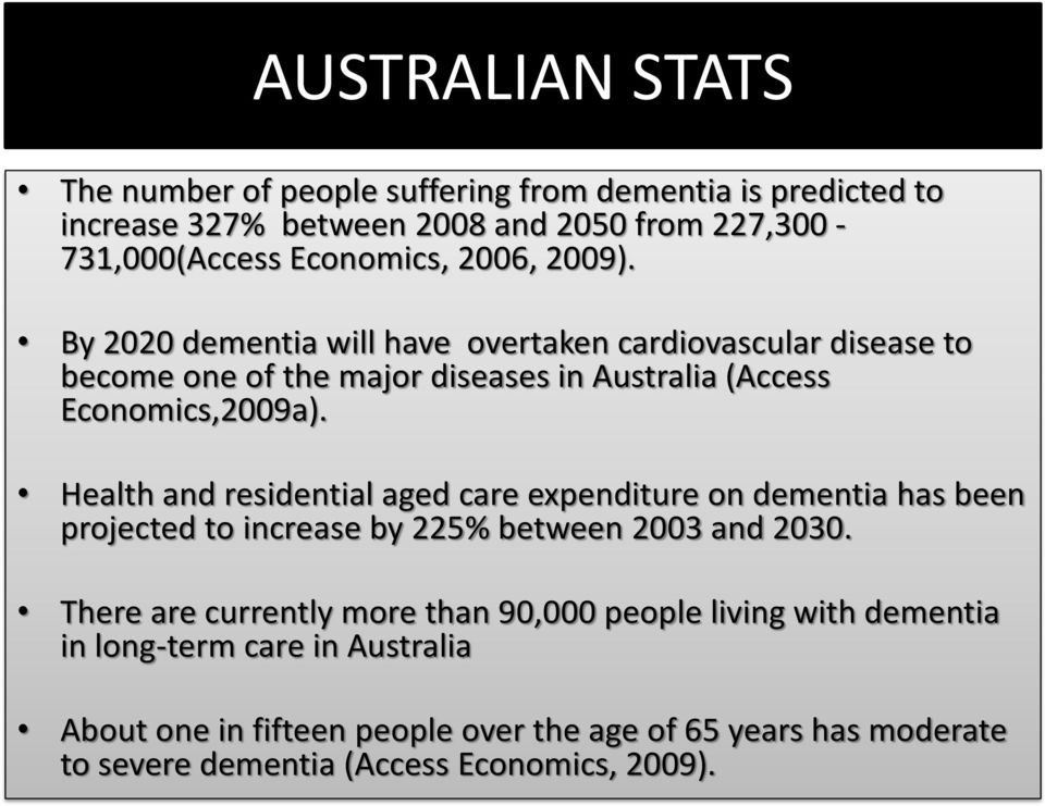 Health and residential aged care expenditure on dementia has been projected to increase by 225% between 2003 and 2030.