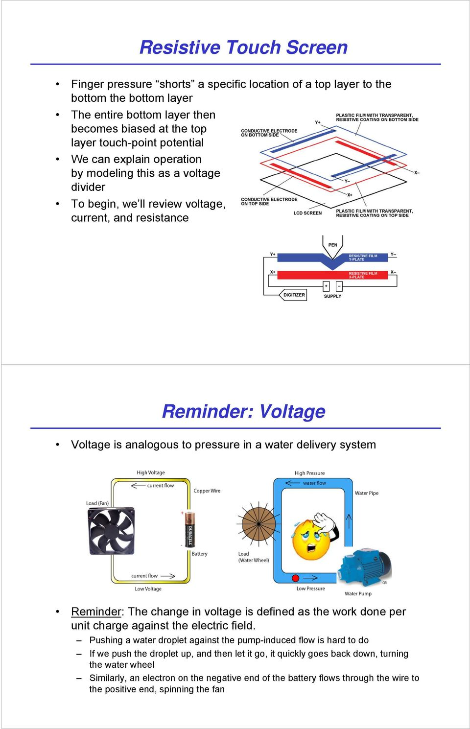 system Reminder: The change in voltage is defined as the work done per unit charge against the electric field.