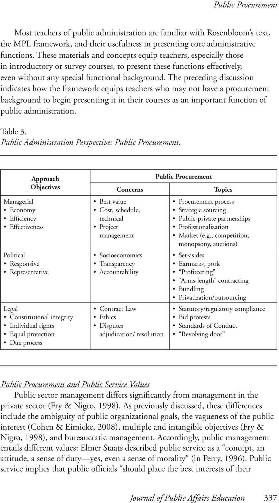The preceding discussion indicates how the framework equips teachers who may not have a procurement background to begin presenting it in their courses as an important function of public