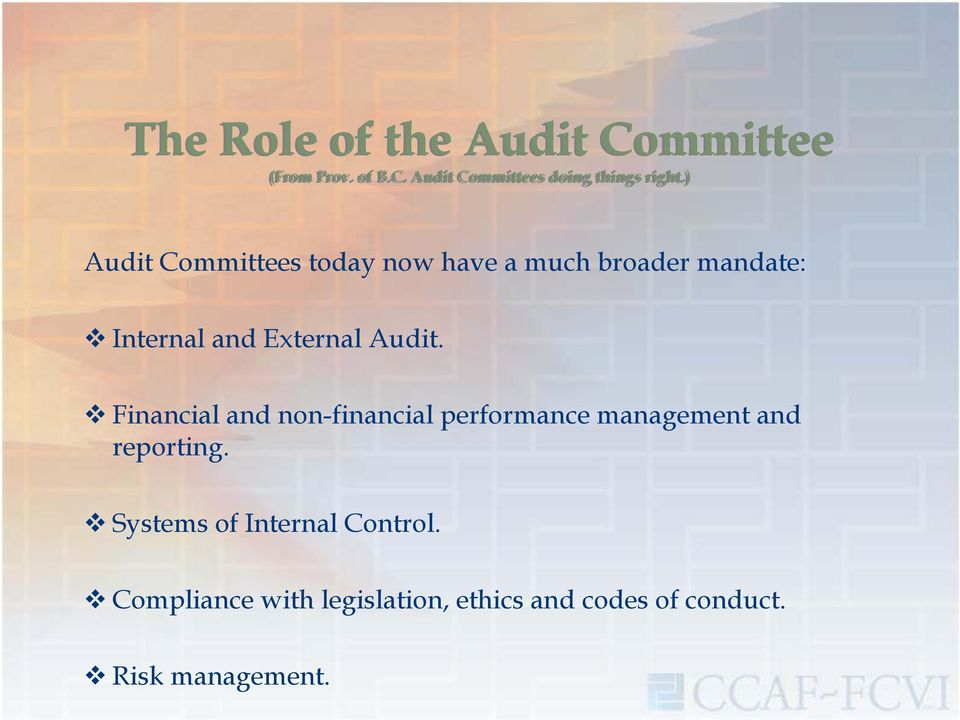 Financial and non-financial performance management and reporting.