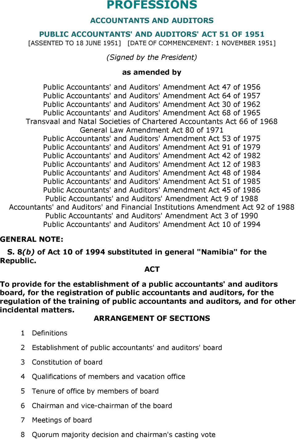 Auditors' Amendment Act 68 of 1965 Transvaal and Natal Societies of Chartered Accountants Act 66 of 1968 General Law Amendment Act 80 of 1971 Public Accountants' and Auditors' Amendment Act 53 of