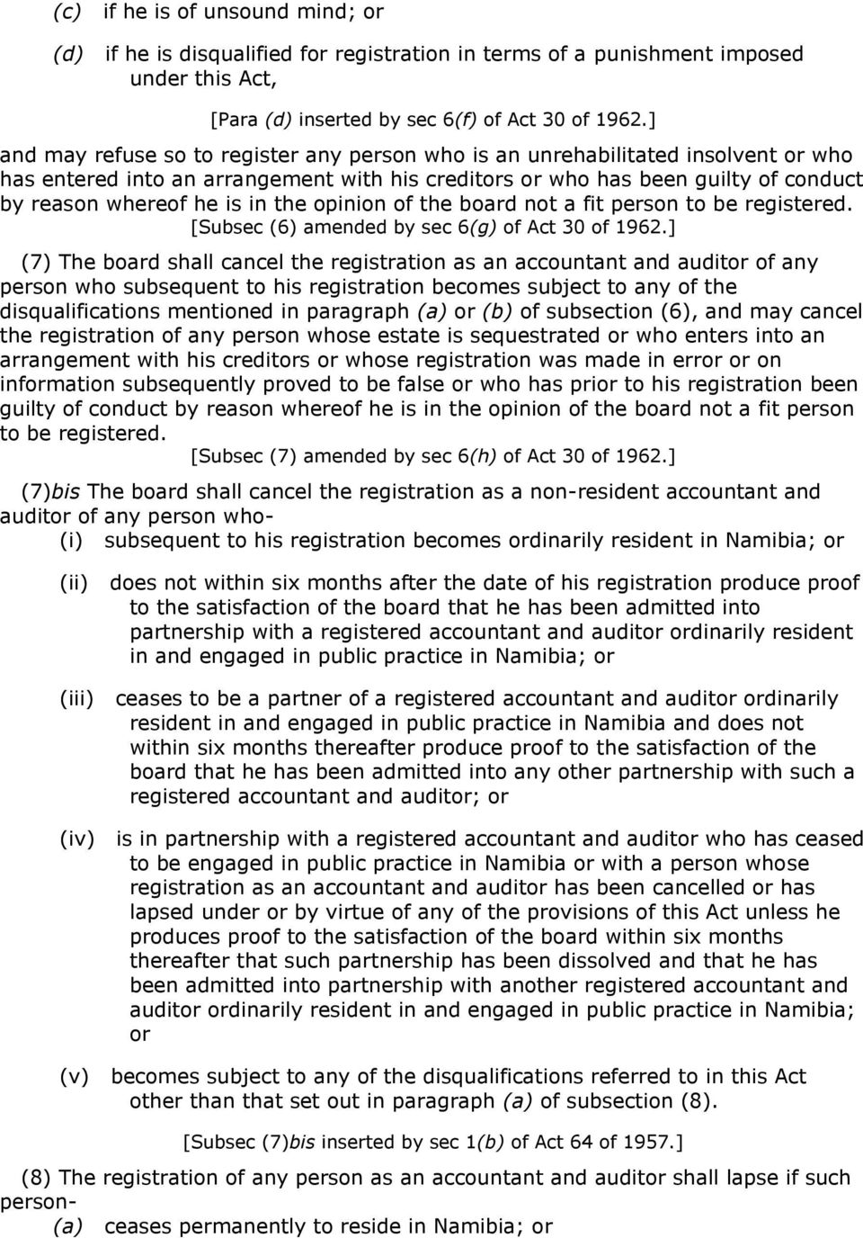 the opinion of the board not a fit person to be registered. [Subsec (6) amended by sec 6(g) of Act 30 of 1962.