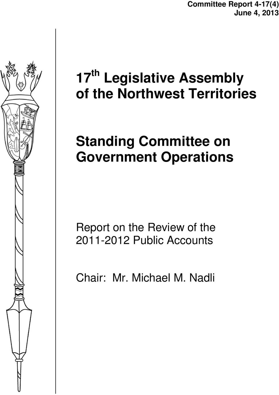 Standing Committee on Government Operations Report on