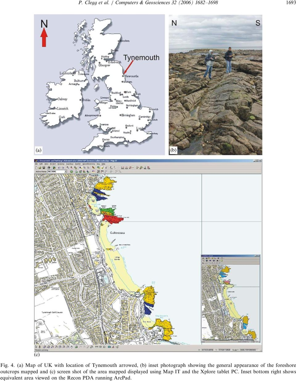appearance of the foreshore outcrops mapped and (c) screen shot of the area mapped displayed