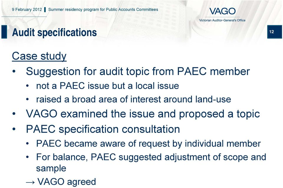 issue and proposed a topic PAEC specification consultation PAEC became aware of request