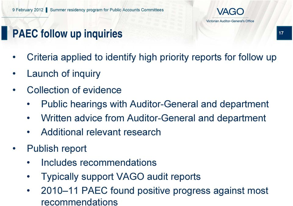 from Auditor-General and department Additional relevant research Publish report Includes