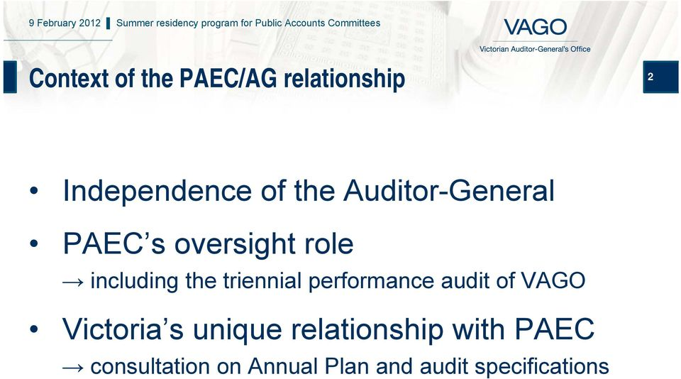 triennial performance audit of VAGO Victoria s unique