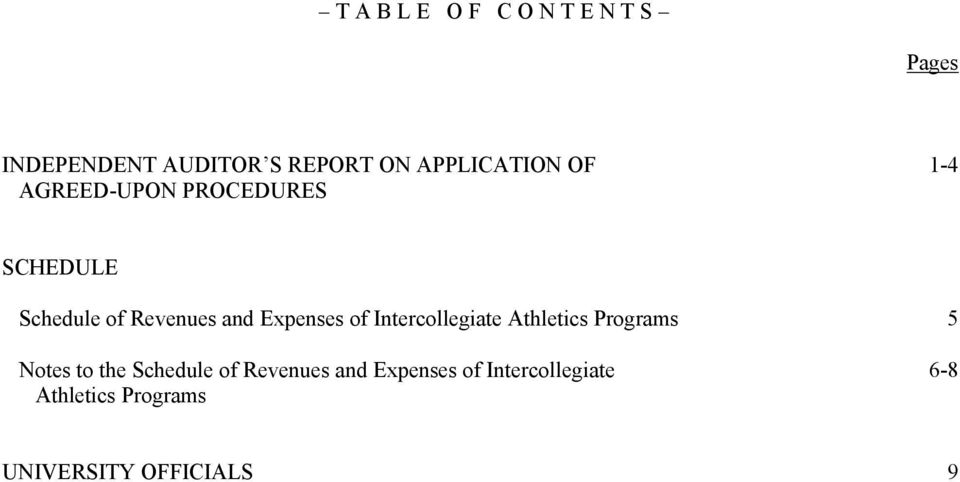 Expenses of Intercollegiate Athletics Programs 5 Notes to the Schedule of