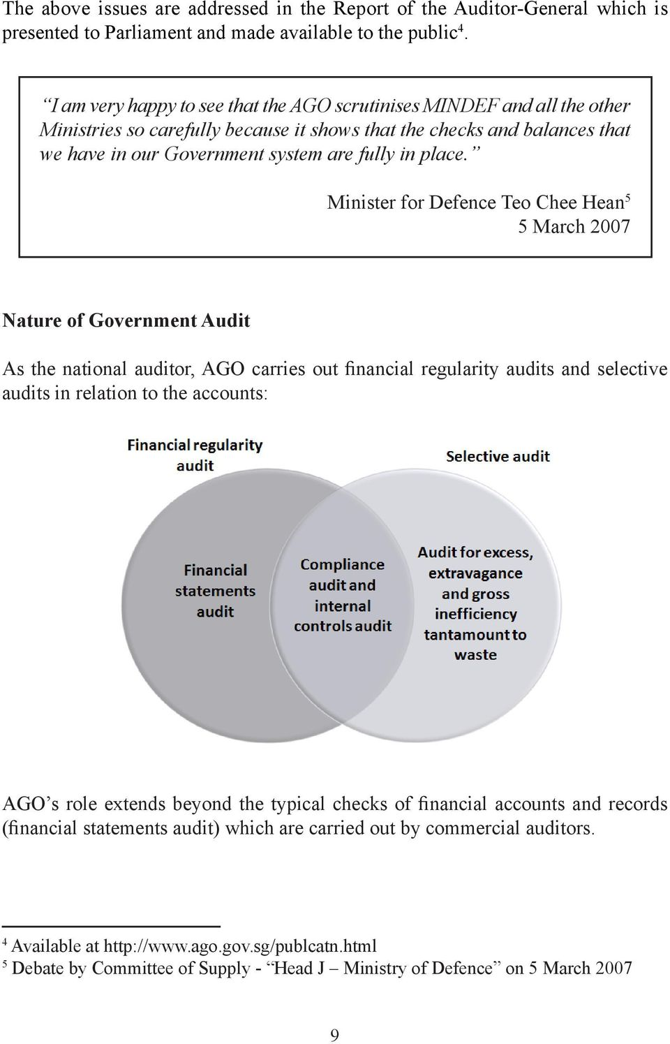 Minister for Defence Teo Chee Hean 5 5 March 2007 Nature of Government Audit As the national auditor, AGO carries out financial regularity audits and selective audits in relation to the accounts: AGO