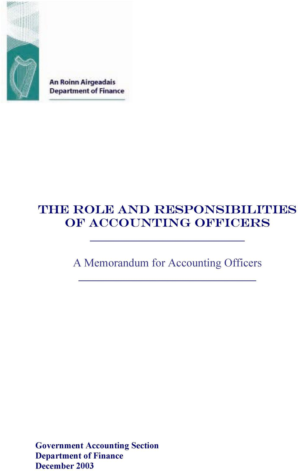 Accounting Officers Government
