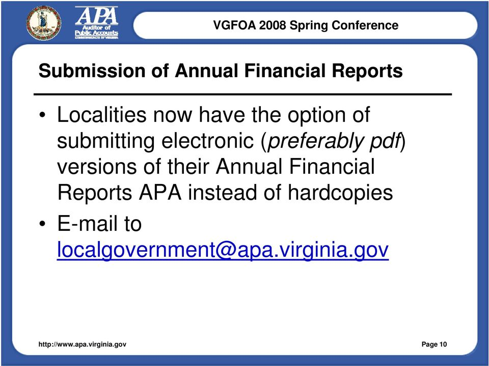versions of their Annual Financial Reports APA instead of