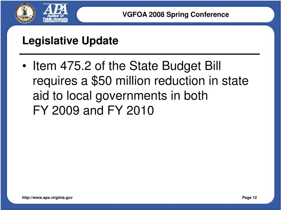 $50 million reduction in state aid to