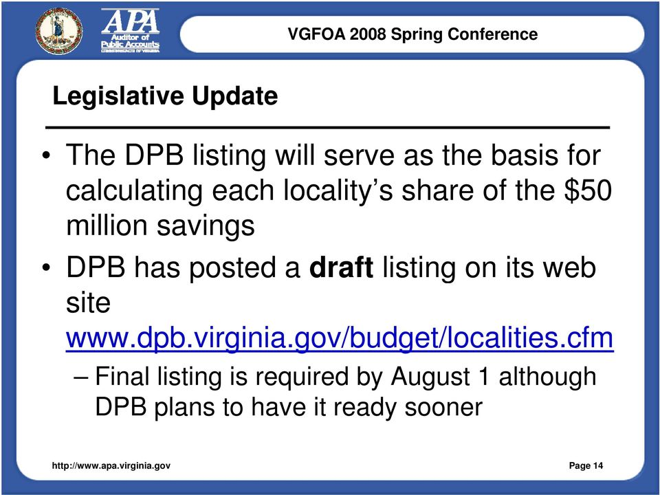 listing on its web site www.dpb.virginia.gov/budget/localities.