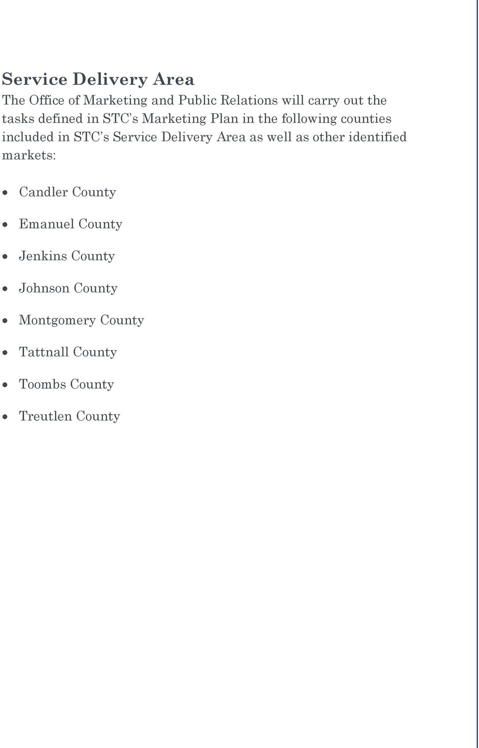 Service Delivery Area as well as other identified markets: Candler County Emanuel