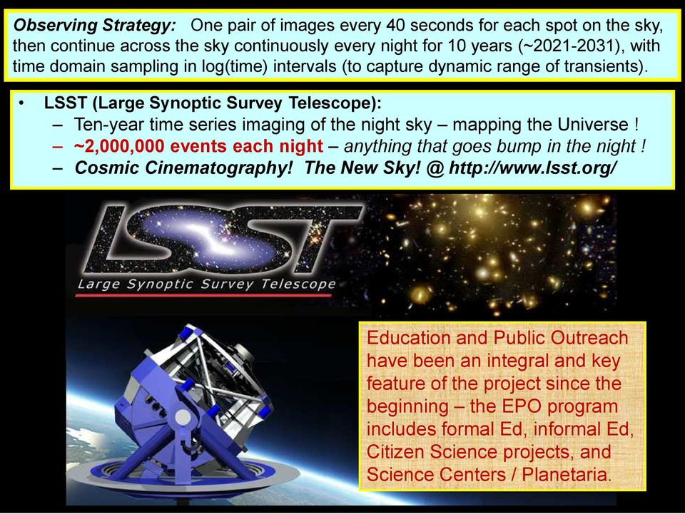 LSST (Large Synoptic Survey Telescope): Ten-year time series imaging of the night sky mapping the Universe! ~2,000,000 events each night anything that goes bump in the night!