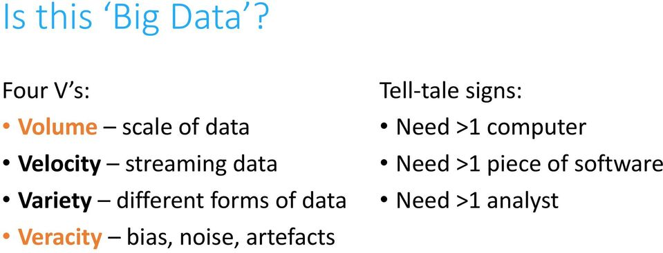 data Variety different forms of data Veracity bias,