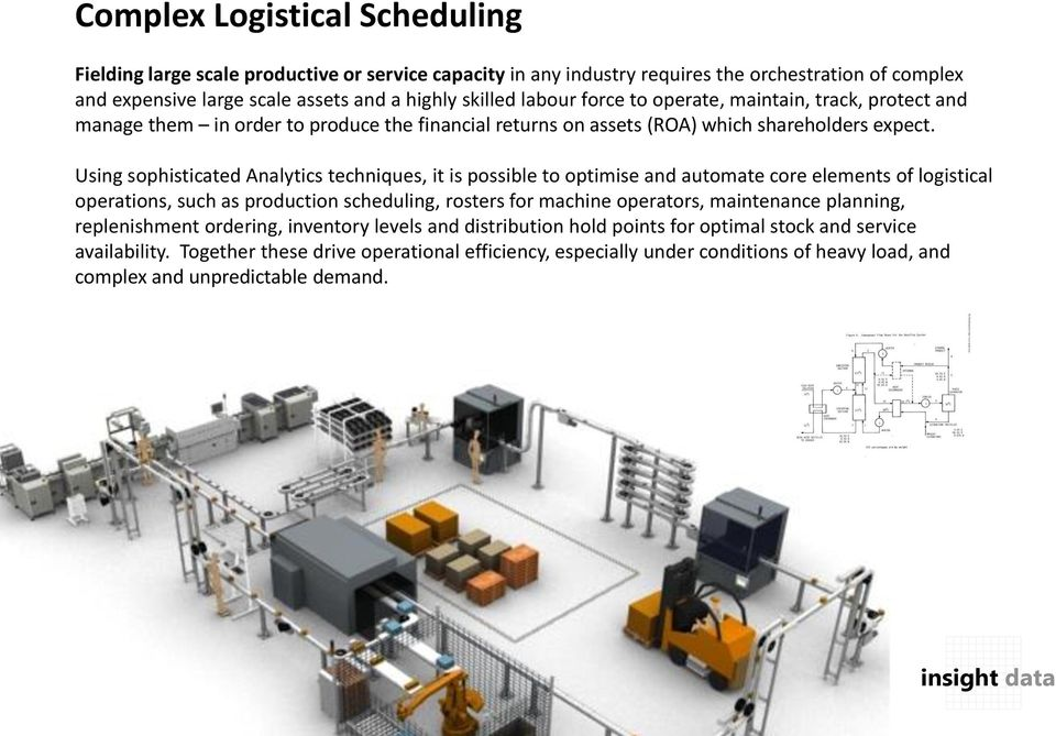 Using sophisticated Analytics techniques, it is possible to optimise and automate core elements of logistical operations, such as production scheduling, rosters for machine operators, maintenance
