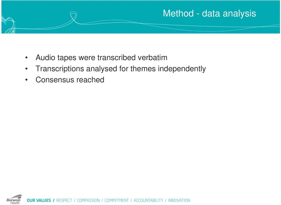 Transcriptions analysed for