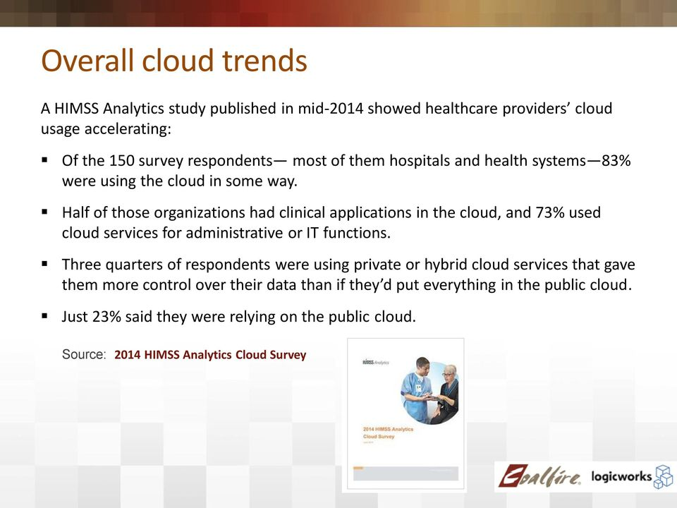 Half of those organizations had clinical applications in the cloud, and 73% used cloud services for administrative or IT functions.